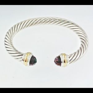 David Yurman Jewelry - David Yurman 7mm Silver& Gold Garnet Bracelet